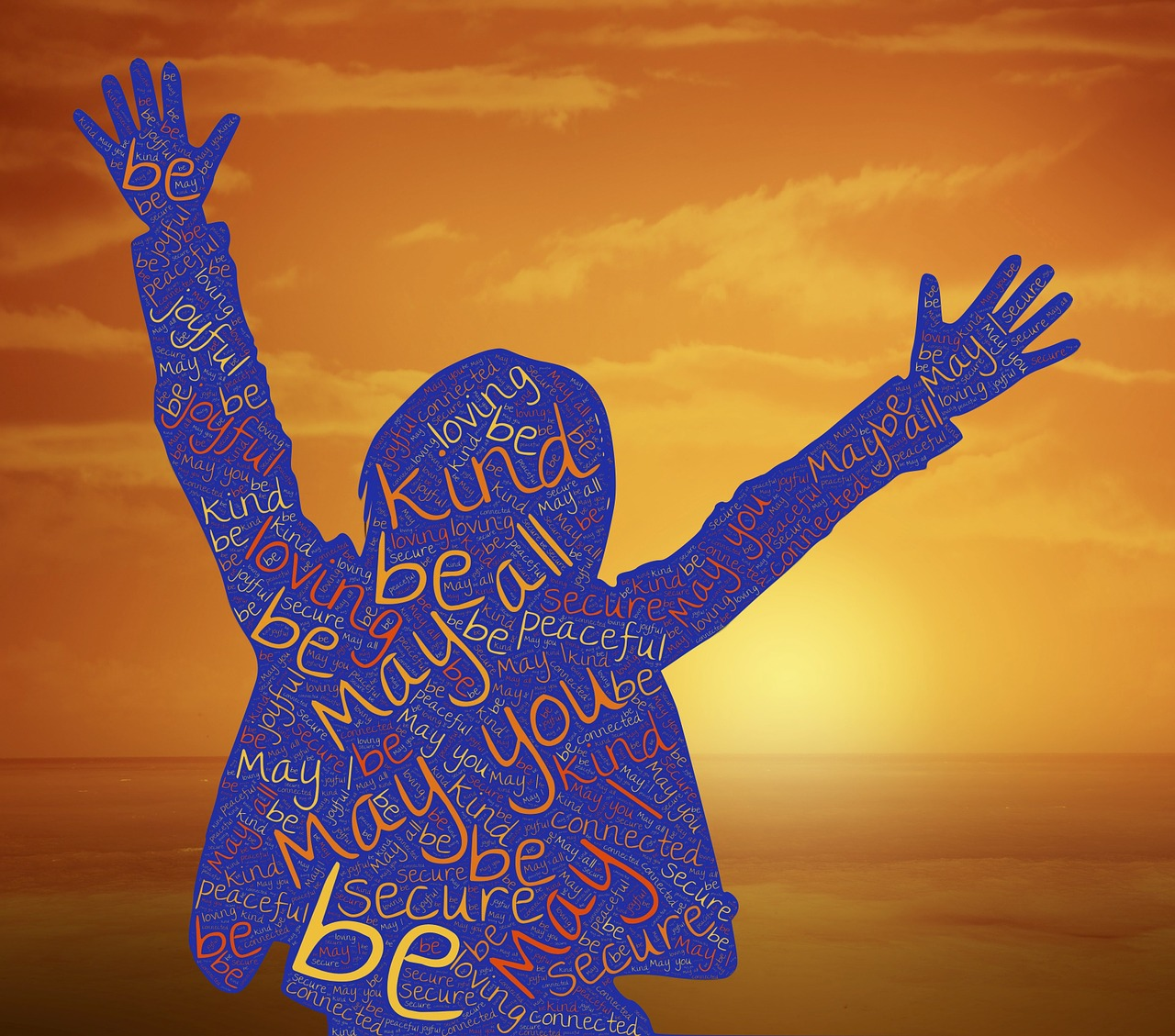 outline of person with words inside about kindness